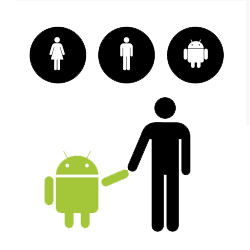 Man, woman, android pictograms